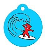 BARKCODE Active Line QR Code Pet ID Tag, Itty Bitty Surfer Dog, Powder Blue