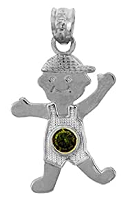 Com 10k white gold baby boy may birthstone emerald pendant jewelry