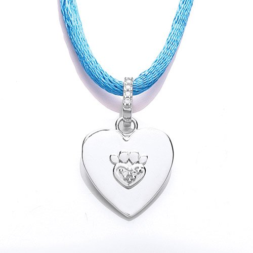 The Blue Cross Animal Charity Silver Necklet a Heart Shaped Disc Set with a Cubic Zirconia Displayed on a 46cm Blue Cord