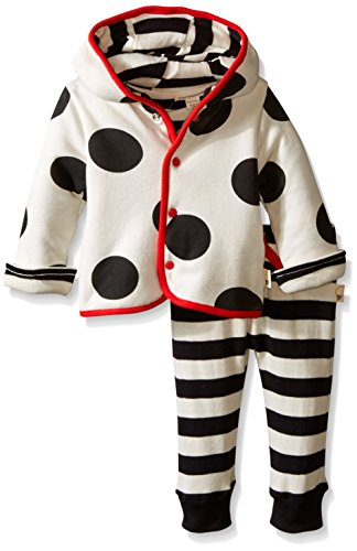 Burt's Bees Baby Unisex-Baby Organic Polka Dot Quilted Reversible Jacket and Rugby Stripe Pant Set, Ivory, 0-3