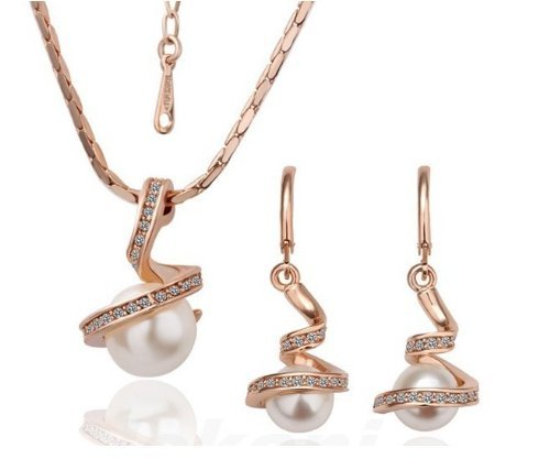 Wedding Bridesmaids Bridal Jewellery Set Rose Gold Tone & White Pearls Necklace Earrings