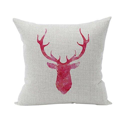 Nunubee Tier Kissenbezug Dekokissen Haus Dekoration weich Quadrat Sofa Kissen Rot Geweih