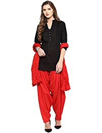 Pistaa Women's Cotton Short Black Kurta And Red Patiala Salwar With Dupatta Set