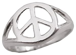 Sterling Silver Polished Peace Sign Peace Symbol Ring .925 Size 3