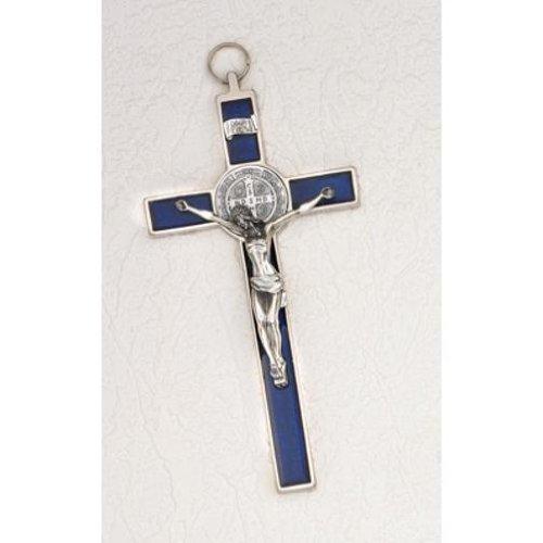 INRI Crucifix with St. Benedict Medal Enamel Blue 8