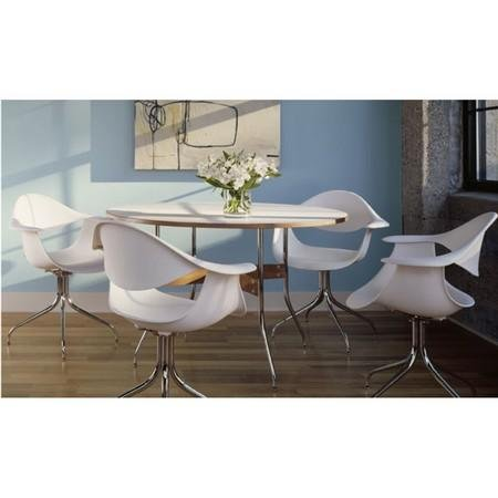 Herman Miller NS5851L91 Nelson ™ Swag Leg Rectangular Dining Table Material and Finish: White Laminate