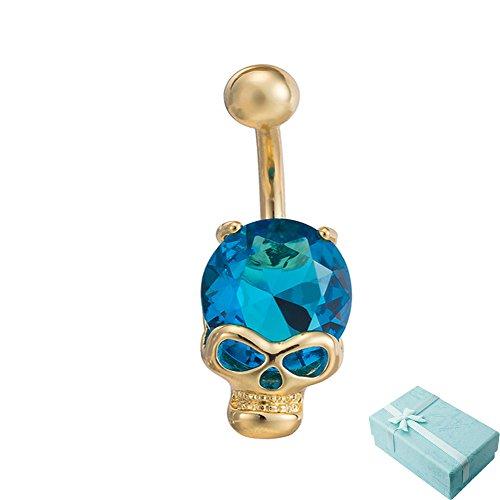 acxico dorato con Crystal Skull tridimensionale intarsiato forma acciaio inox ombelico chiodo, Blu