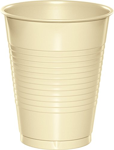 Creative Converting 28161081 20 Count Touch of Color Plastic Cups, 16 oz, Ivory
