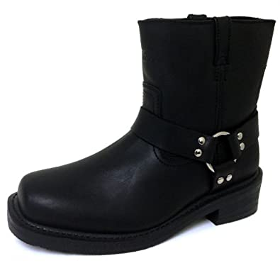 FD Men's Motorcycle Harness Boots Genuine Leather Short Biker Riding, Black, Brown Sizes:6.5-13 (6.5 D(M) US, Black)