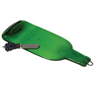 Wild Eye Design Recycled Glass Bottle Platter with Spreader - Green