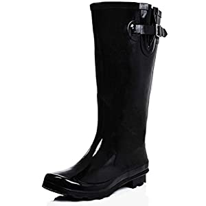 Womens Snow Rain Welly Wellington Flat Wide Calf Boots Megan Black US
