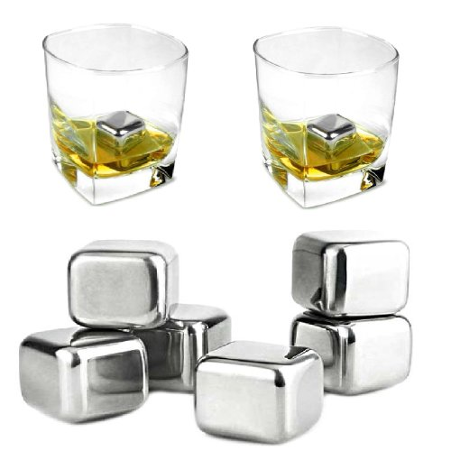 Aerb Set of 6 Stainless Steel Whiskey Chilling Sipping Stones Reusable Ice Cubes in Gift Box (Stainless Steel) at Sears.com