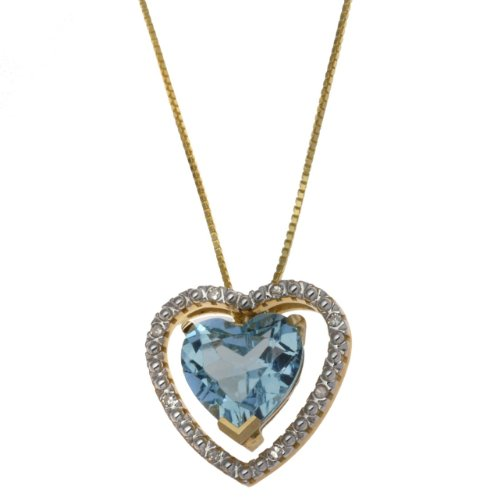 9ct Yellow Gold 0.064ct Diamond and Blue Topaz Double Heart Pendant Necklace 43cm/17
