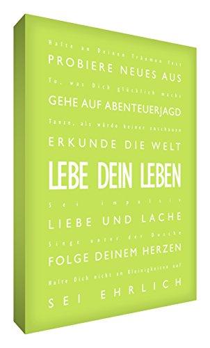 """Little Helper LVLF128-02G Feel Good Art Targa in stampa su tela lingua tedesca in caratteri moderni """"VIVI la tua vita con"""", 30 x 20 cm, colore verde"""