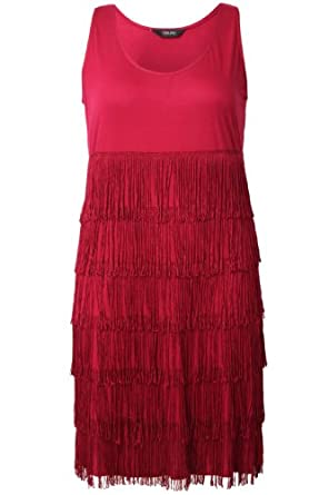 Yoursclothing Womens Plus Size Deep Fringe Dress Red at Amazon Women