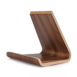 Samdi L iPhone tablet stand, Premium Hard Natural Wood Stand Holder for iPhone iPad Mini, Air / Air 2, Pro, Samsung Galaxy, Google and Most Other Tablets, E-readers and Smartphones-Walnut Color