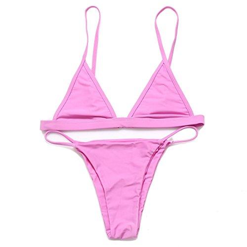 RELTANGL Women's 2 Pcs Bikini Halter Top Tie Side Bottom Swimwear Bikini Set(S, Pink)
