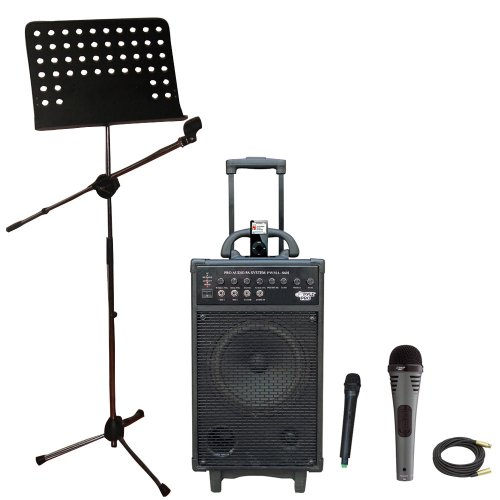 Pyle Speaker, Mic, Stand And Cable Package - Pwma860I 500W Vhf Wireless Portable Pa System /Echo W/Ipod Dock - Pdmik2 Professional Moving Coil Dynamic Handheld Microphone - Pmsm9 Heavy Duty Tripod Microphone And Music Note Stand - Ppmcl50 50Ft. Symmetric