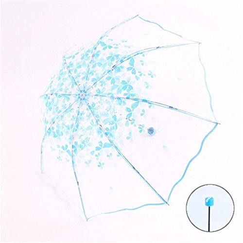 Ombrello Trasparente,CAMTOA Ombrello Pieghevole Antivento Cherry Blossom Modello - Fashion & Compatto Ombrello Per Pioggia Outdoor