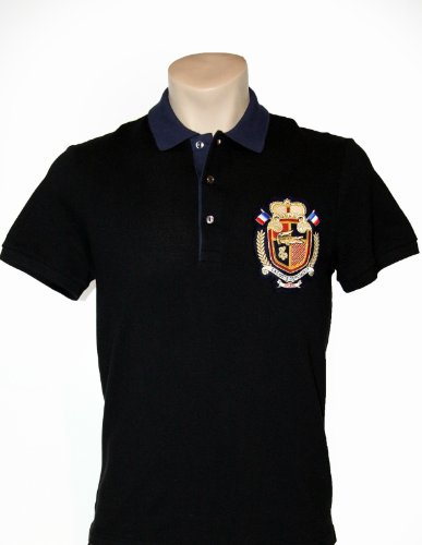 Lacoste Short Sleeve Contrast Collar Pique Polo With Crest : Black/Navy Blue (Size S/EUR 4)
