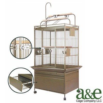 Image of Small Deluxe Play Top Bird Cage with Storage Drawer (P3224DXBlack)