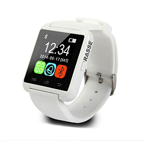 Rasse® Uwatch Bluetooth 3.0 Smartwatch for Ios Apple Iphone 6,iphone 6 Plus,iphone 5s/5c/5/4s/4 Android Samsung S2/s3/s4/s5/note 2/note 3/note 4 HTC Sony Blackberry Smartphone(non-waterproofr) (White)