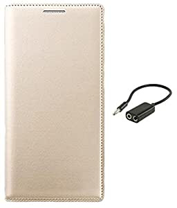 Aravstore Premium Leather Flip Case Cover For - LYF WIND 6 - Gold , Audio Splitter Aux Cable