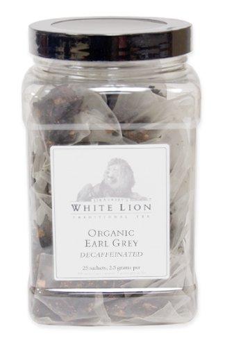Organic Earl Grey Decaf Fine Black Tea, 25 Sachets, White Lion Tea
