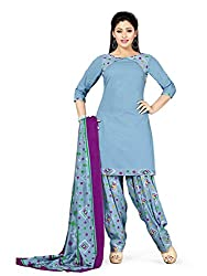 PShopee Light Blue Bandhani Printed Unstitched Semi Patiala Suit Material