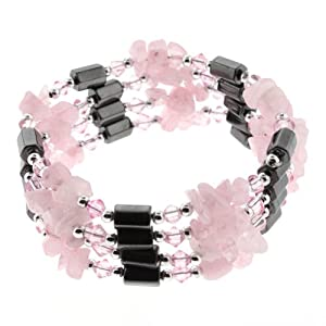Natural Rose Quartz Chips and Magnetic Hematite Lariat/Wrap - Wear it as Necklace, Bracelet, or Anklet