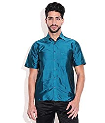 Vivyaan Blue color Solid Pattern Men's party wear shirts