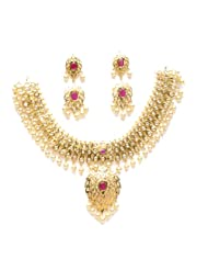 Gold plated polki necklace with synthetic ruby stone NSR0021