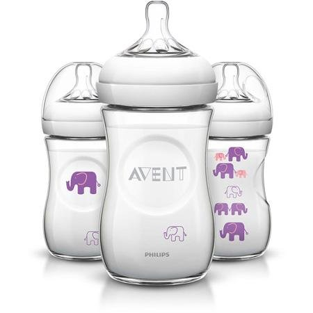 Philips Avent Elephant Natural Bottles, 9 oz, 3 count - 1