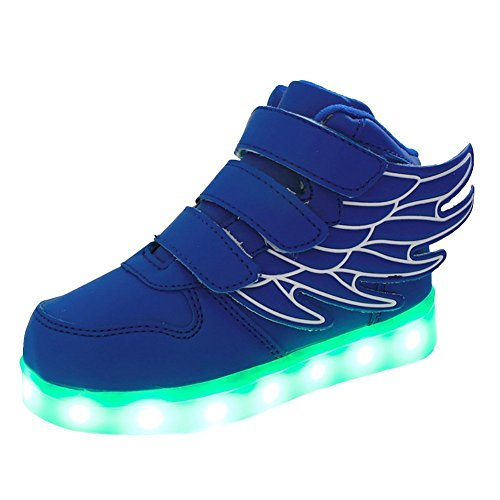 Ki-vi Kids LED light up Sneaker Athletic Wings Shoes High Student dance Boot USB Charge (Little Kid, Black) (1M US Little Kid, Blue)