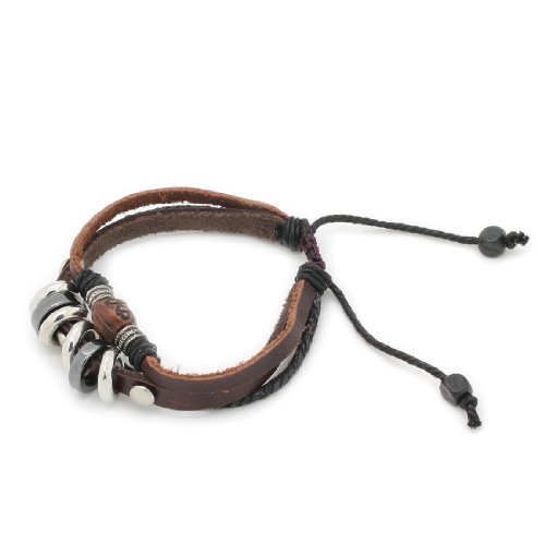 3-Strand Genuine Leather Adjustable Wristband / Bracelet with Rings & Tribe Bead