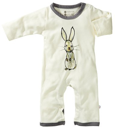 Babysoy Baby-Boys Janey Baby One Piece Bodysuit, Gray, Bunny, 0-3 Months