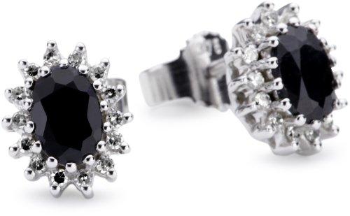 Bella Donna Ohrstecker 375/000 Weißgold 28 Diamanten zus. 0,15ct.W-PI 2 Safire 6X4 oval facettiert  656840