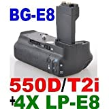 Professional Photography Vertical Battery Grip for LP-E8 Battery (4 Batteries Included) - Canon EOS 550d & Rebel T2i