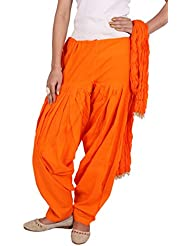Rama Women Cotton Solid Combo Of Full Patiala & Dupatta (Orange, Free Size)