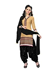 Desi Look Women's Beige Jacquard Cotton Patiyala Dress Material With Dupatta - B0197ZB11K