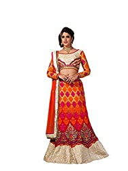 Orange Net And Silk Lehenga Choli