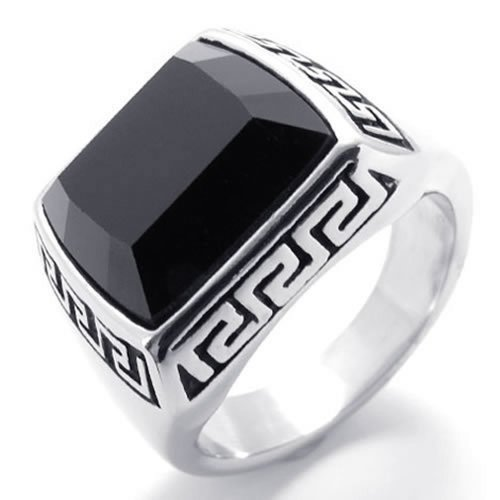 Konov Jewelry Design Stainless Steel Band Mens Ring, Black Silver, Size 12