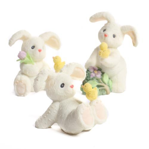 Set of 6 Miniature Resin Springtime Bunny - Easter Table Favor Decorations