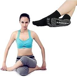 Calze Antiscivolo Donna, DDLBiz® Pilates, Yoga, Arti marziali, fitness, danza, Barre. Antiscivolo Calzini punta per donna (nero)
