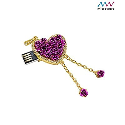 Microware 16 GB Heart ShMicroware Purple Metal Designer Pendrive