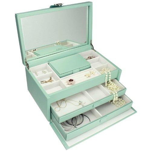 Dulwich Designs Jewelry Organizer |Duck Egg Blue & Cream Pretty Large Jewelry Box