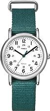 Timex Womens T2N915 Weekender Mid-Size Slip-Thru Green Nylon