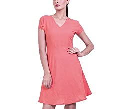Dhrohar Women Cotton A-Line Dress (Salmondressmedium _Salmon _Medium)