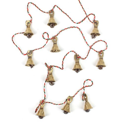 Decorative String of 11 Metal Vintage Indian Style Fairtrade Wall Hanging Bells - Fair Trade - Free Postage