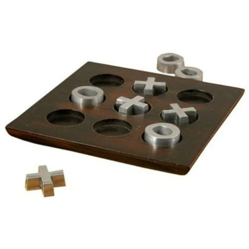 Wood Tic Tac Toe Coffee Table Game with Metal Pieces - Board Games